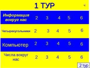 2 3 4 5 6 2 3 4 5 6 2 3 4 5 6 2 3 4 5 6 2 тур 1 ТУР 2 Информация вокруг нас