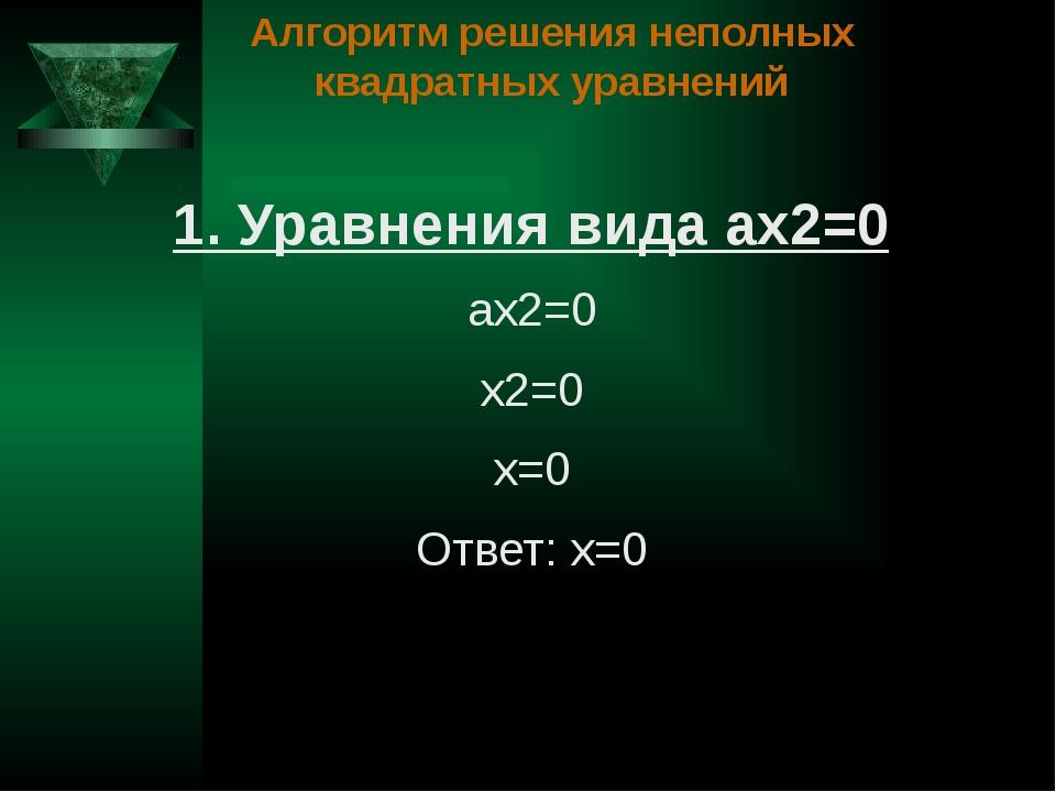 Алгоритм решения неполных квадратных уравнений 1. Уравнения вида ах2=0 ах2=0...