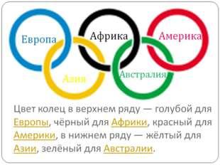 Олимпийские кольца Пять разноцветных Олимпийских колец означают пять континен