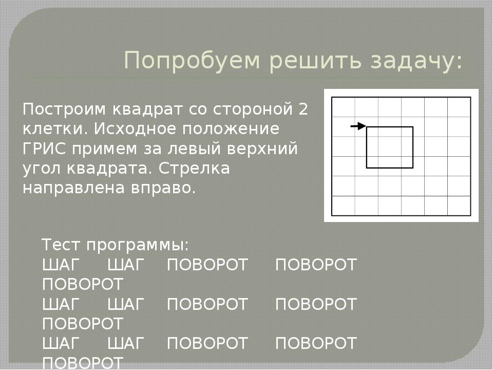 Попробуем решить задачу: Построим квадрат со стороной 2 клетки. Исходное поло...