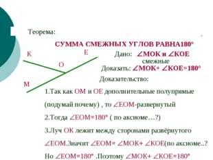 СУММА СМЕЖНЫХ УГЛОВ РАВНА180° Теорема: Дано: Доказать: МОК+ КОЕ=180° Доказа