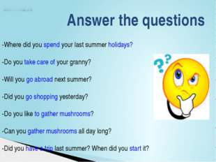 Answer the questions -Where did you spend your last summer holidays? -Do you
