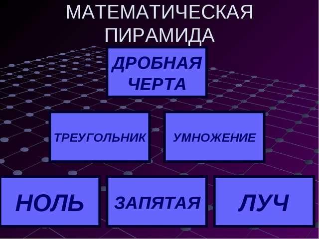 МАТЕМАТИЧЕСКАЯ ПИРАМИДА