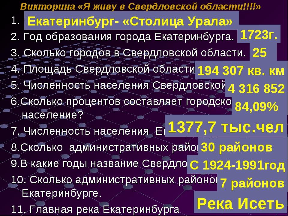 1. Столица Свердловской области. 2. Год образования города Екатеринбурга. 3....