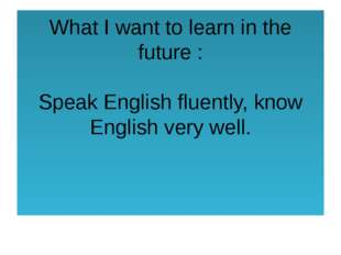 What I want to learn in the future : Speak English fluently, know English ver