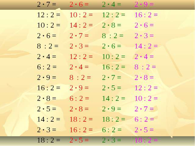 2 ∙ 7 = 2 ∙ 6 =2 ∙ 4 =2 ∙ 9 = 12 : 2 =10 : 2 =12 : 2 =16 : 2 = 10 : 2 =...
