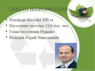 ОБЩАЯ ИНФОРМАЦИЯ Площадь поселка 100 га Население поселка 13,6 тыс. чел Глава