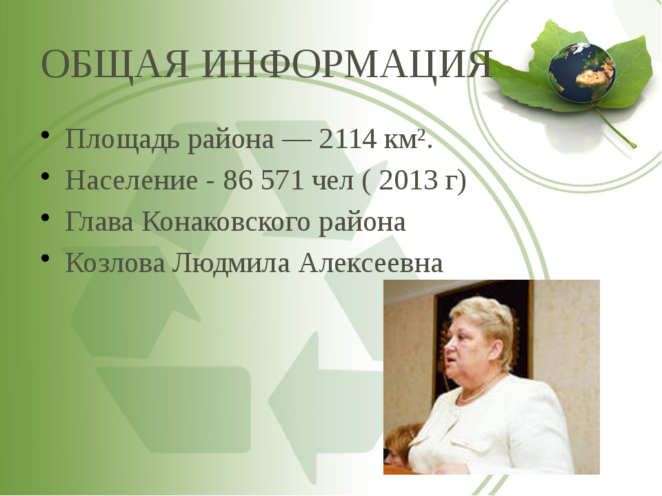 ОБЩАЯ ИНФОРМАЦИЯ Площадь района— 2114км². Население - 86 571 чел ( 2013 г)...