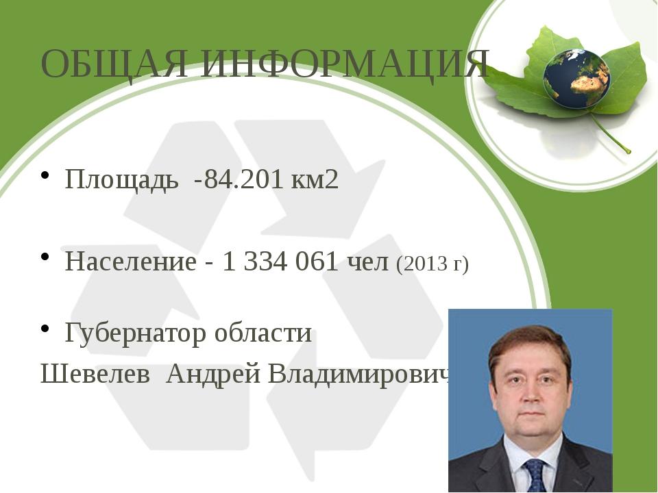 ОБЩАЯ ИНФОРМАЦИЯ Площадь -84.201 км2 Население - 1 334 061 чел (2013 г) Губер...