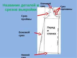 Название деталей и срезов выкройки Боковой срез Срез проймы Плечевой срез Сре