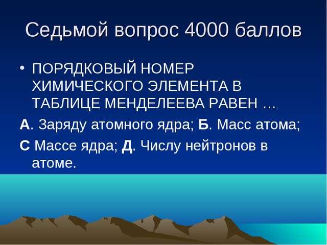 Седьмой вопрос 4000 баллов ПОРЯДКОВЫЙ НОМЕР ХИМИЧЕСКОГО ЭЛЕМЕНТА В ТАБЛИЦЕ МЕ...