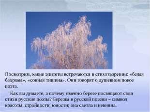 Посмотрим, какие эпитеты встречаются в стихотворении: «белая бахрома», «сонна