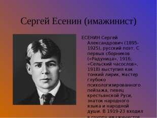 Сергей Есенин (имажинист) ЕСЕНИН Сергей Александрович (1895-1925), русский по