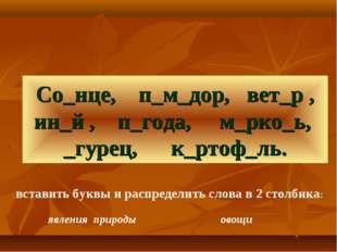 Со_нце, п_м_дор, вет_р , ин_й , п_года, м_рко_ь, _гурец, к_ртоф_ль. вставить