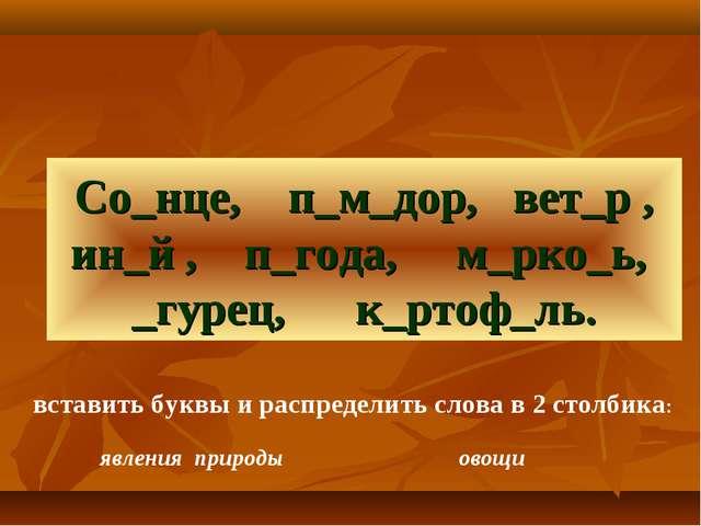 Со_нце, п_м_дор, вет_р , ин_й , п_года, м_рко_ь, _гурец, к_ртоф_ль. вставить...