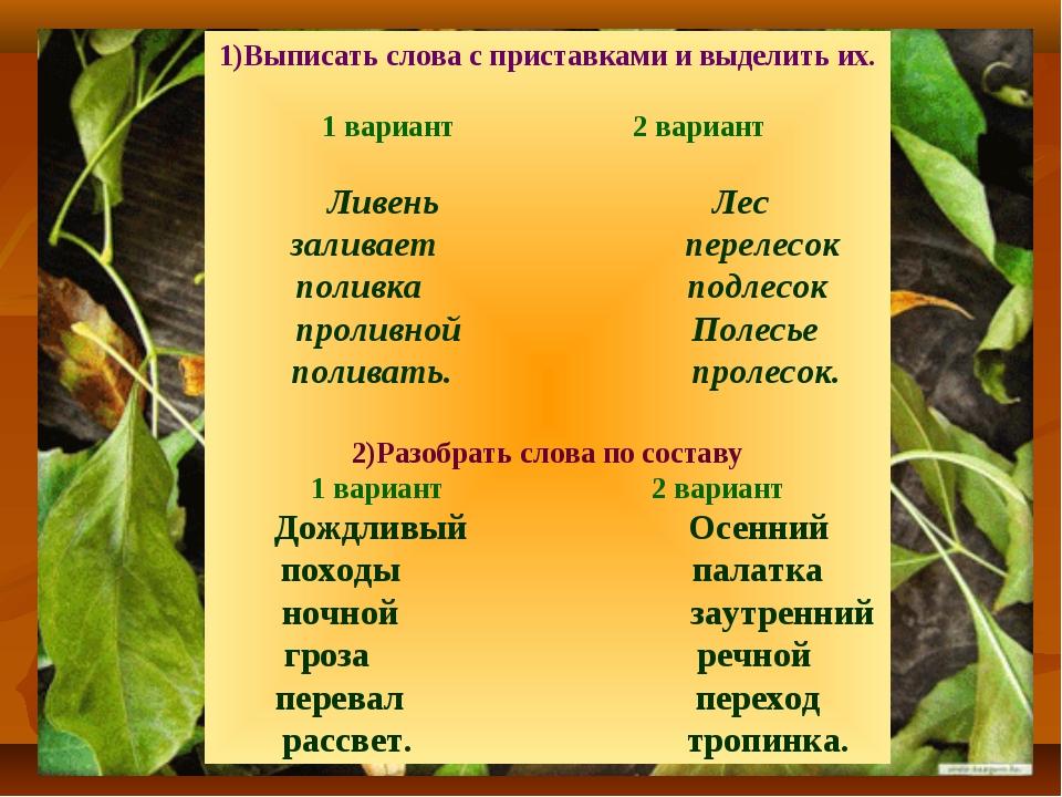 1)Выписать слова с приставками и выделить их. 1 вариант 2 вариант Ливень Лес...