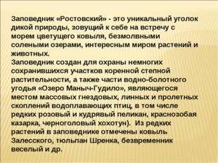 Заповедник «Ростовский» - это уникальный уголок дикой природы, зовущий к себе