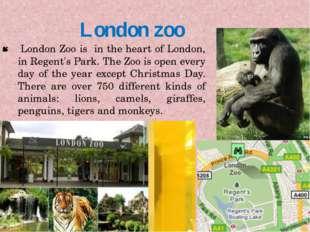 London zoo London Zoo is in the heart of London, in Regent's Park. The Zoo is