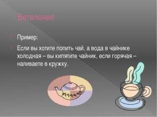 Ветвление Пример: Если вы хотите попить чай, а вода в чайнике холодная – вы к