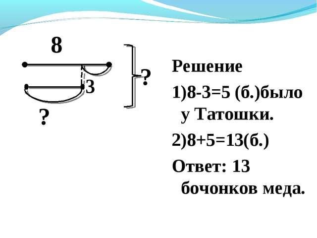Решение 1)8-3=5 (б.)было у Татошки. 2)8+5=13(б.) Ответ: 13 бочонков меда. 8 ?...