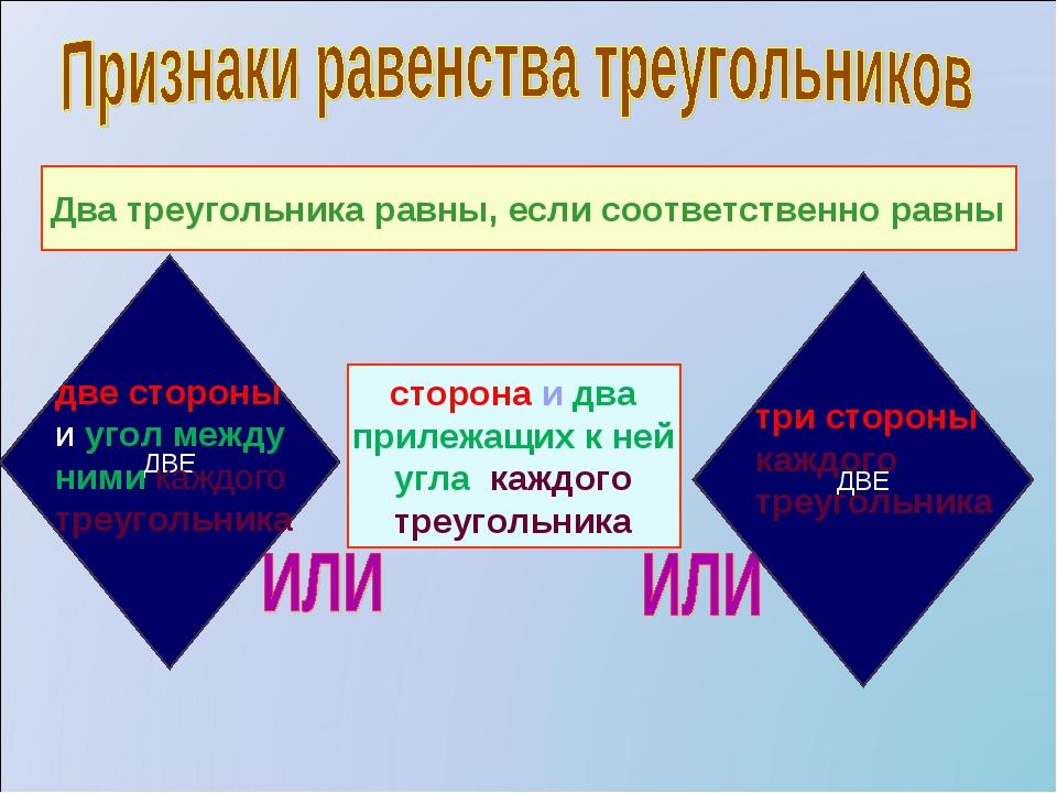 Два треугольника равны, если соответственно равны сторона и два прилежащих к...