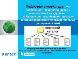 Файловая структура – это совокупность файлов на диске и взаимосвязей между ни