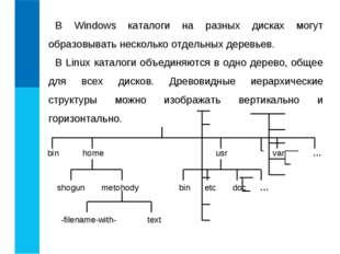 В Windows каталоги на разных дисках могут образовывать несколько отдельных де