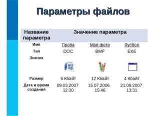 Параметры файлов Название параметраЗначение параметра ИмяПробаМоё фотоФу