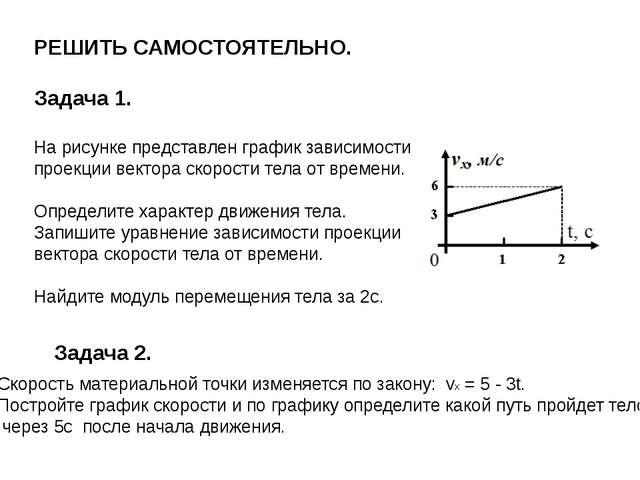 Проекция скорости движения тела задана уравнением: vx = 10 + 0,3t . Запишите...