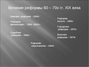 Великие реформы 60 – 70х гг. XlX века Земская реформа – 1864г. Реформа финан