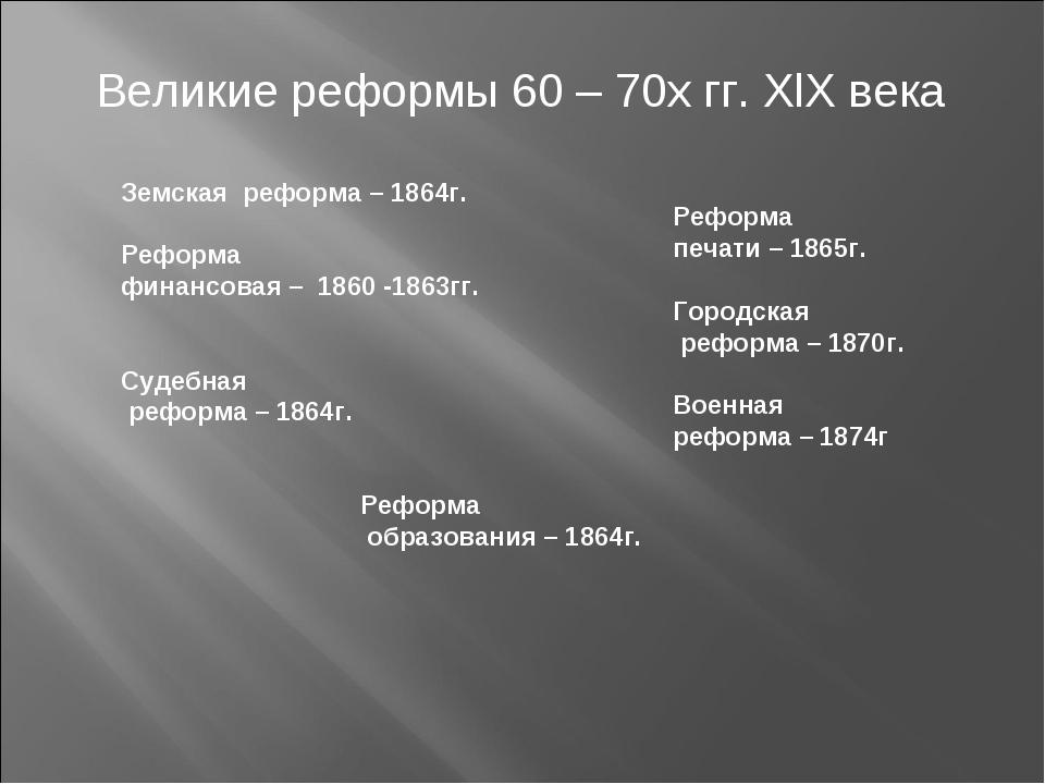 Великие реформы 60 – 70х гг. XlX века Земская реформа – 1864г. Реформа финан...