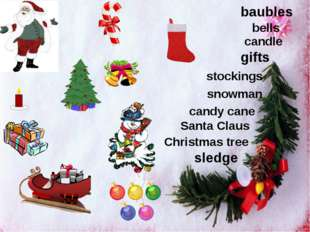 stockings snowman candy cane gifts candle Santa Claus Christmas tree sledge b