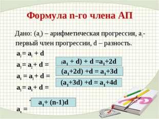 Формула n-го члена АП Дано: (аn) – арифметическая прогрессия, a1- первый член