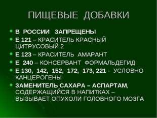 ПИЩЕВЫЕ ДОБАВКИ В РОССИИ ЗАПРЕЩЕНЫ Е 121 – КРАСИТЕЛЬ КРАСНЫЙ ЦИТРУСОВЫЙ 2 Е 1