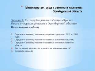 Задание 1. Исследуйте данные таблицы «Прогноз баланса трудовых ресурсов в Оре