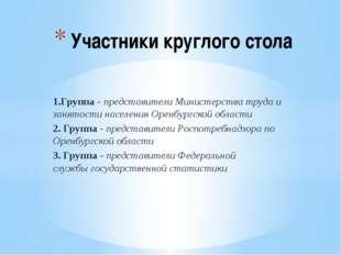 1.Группа - представители Министерства труда и занятости населения Оренбургско