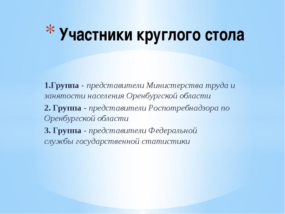 1.Группа - представители Министерства труда и занятости населения Оренбургско...