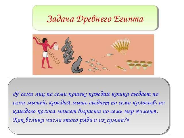 Задача Древнего Египта «У семи лиц по семи кошек; каждая кошка съедает по сем...