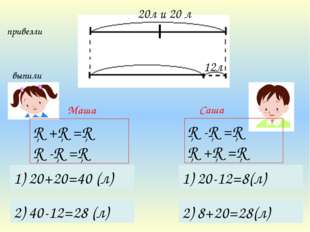 Саша Маша □-□=□ □+□=□ 1) 20-12=8(л) 2) 8+20=28(л) 1) 20+20=40 (л) 2) 40-12=28
