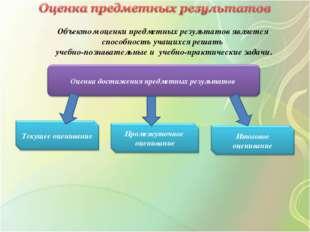 Объектом оценки предметных результатов является способность учащихся решать у