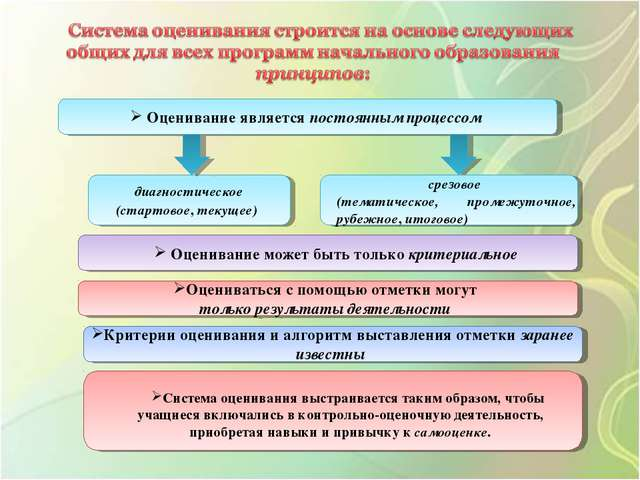 Оценивание является постоянным процессом диагностическое (стартовое, текущее...