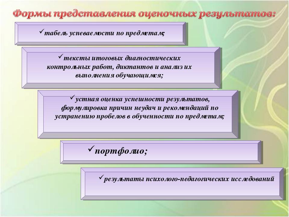 табель успеваемости по предметам; тексты итоговых диагностических контрольных...