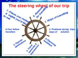 The steering wheel of our trip 1. Ways of travelling 2. Problems during trips