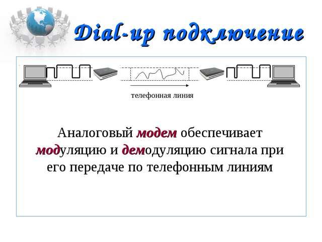 Dial-up подключение  Аналоговый модем обеспечивает модуляцию и демодуляцию с...