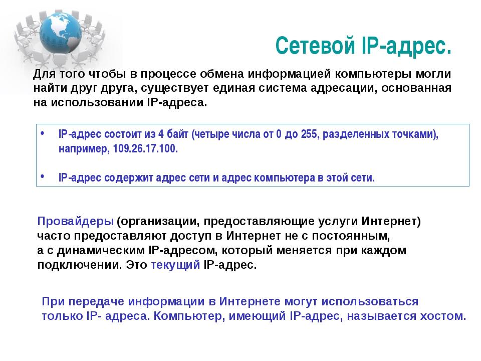 Сетевой IP-адрес. IP-адрес состоит из 4 байт (четыре числа от 0 до 255, разде...