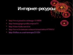 Интернет-ресурсы http://www.pressfoto.ru/image-1118854 http://sunnyginger.pod