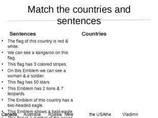 Match the countries and sentences Sentences The flag of this country is red &