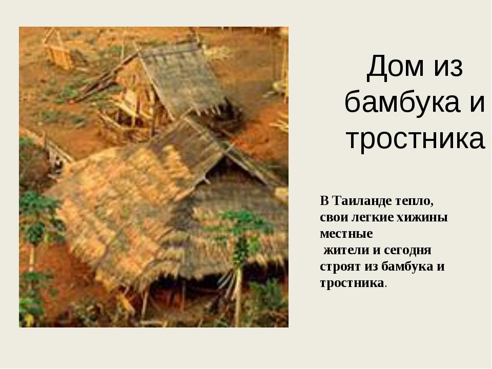 Дом из бамбука и тростника В Таиланде тепло, свои легкие хижины местные жител...