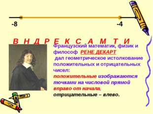 -8 -4 Д Е В Н Р К С А М Т И Французский математик, физик и философ РЕНЕ ДЕКАР