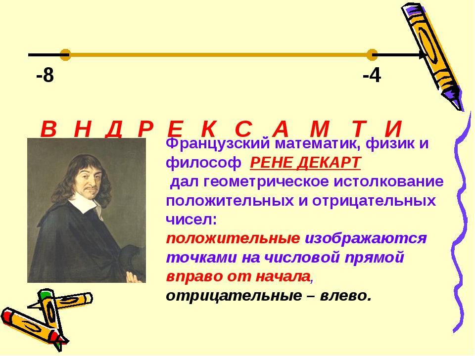 -8 -4 Д Е В Н Р К С А М Т И Французский математик, физик и философ РЕНЕ ДЕКАР...